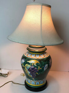 Vintage Frederick Cooper Ceramic Table Lamp With Colorful
