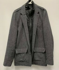 Guess Mens Military Wool Coat with Quilted Bib