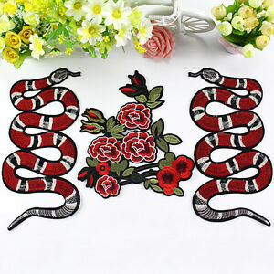 UK-Snake-Peony-Flower-Embroidery-Sew-Iron-On-Patch-Badge-Clothes-Applique-DIY