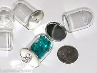 1 Glass Tube Wide Mouth Bottle Vial Silver Plated Dome Necklace Pendant Charm