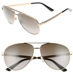 GUCCI Aviator Sunglasses GG 0237 S Metal Gold Brown Polarized 61mm fe595f0b399