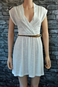 Women-039-s-Ivory-White-Stretch-Cotton-Christmas-Party-Wrap-Mini-Dress-UK-Size-8