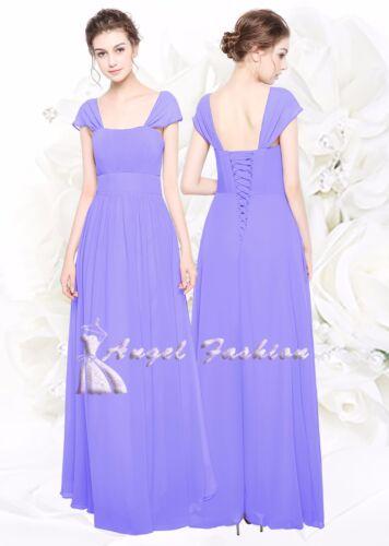 Chiffon scoop neck floor length Bridesmaid//party dress size 8-24