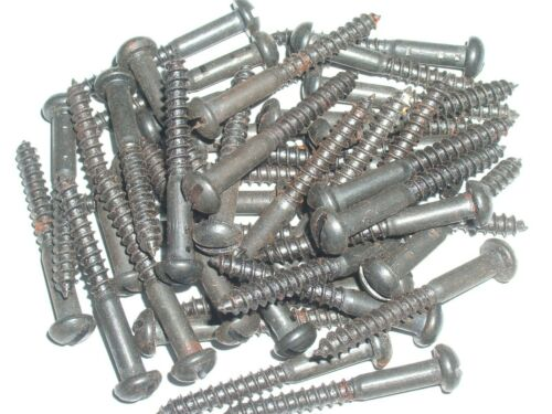 """Traditional Black Japanned 11//2/"""" x 8 steel slotted Round head screws 50 pack"""