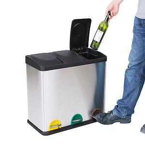 gebrauchte 24l edelstahl recycling m lleimer m lltrenner. Black Bedroom Furniture Sets. Home Design Ideas