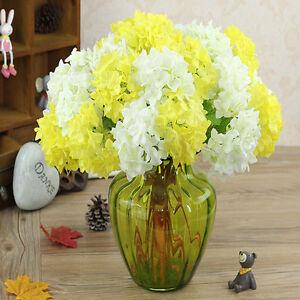 Artificial Hydrangea Silk Flowers Leaf Bouquet Wedding Bridal Party Home Decor f