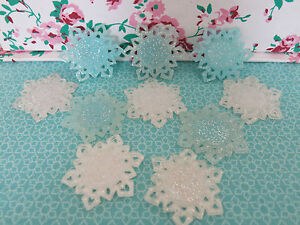 Frozen Glitter White Blue Snowflakes Cameo Holders Planar Resin Epoxy Dome Base