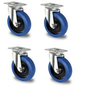4 Stück Blue Wheels Lenkrollen 160 mm Transportrollen Transportgeräterollen
