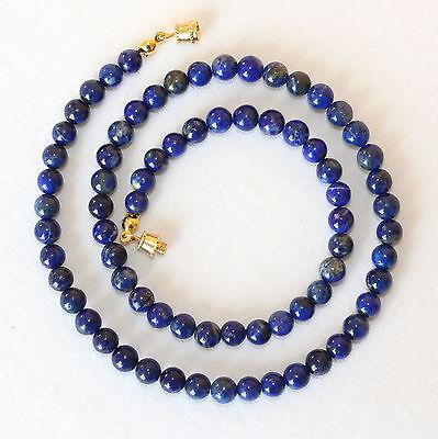 "Blue Lapis Lazuli 6mm Necklace Round Beads 16/"" Necklace 6 mm Lapis Beads"