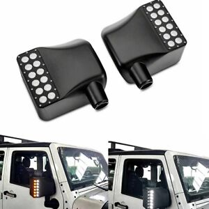 For Jeep Wrangler Clear Lens Side Mirror Housing w// Yellow Turn Signal Lights