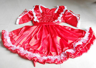 PRETTY RED  SATIN/ WHITE LACE SISSY DRESS   5X SIZE