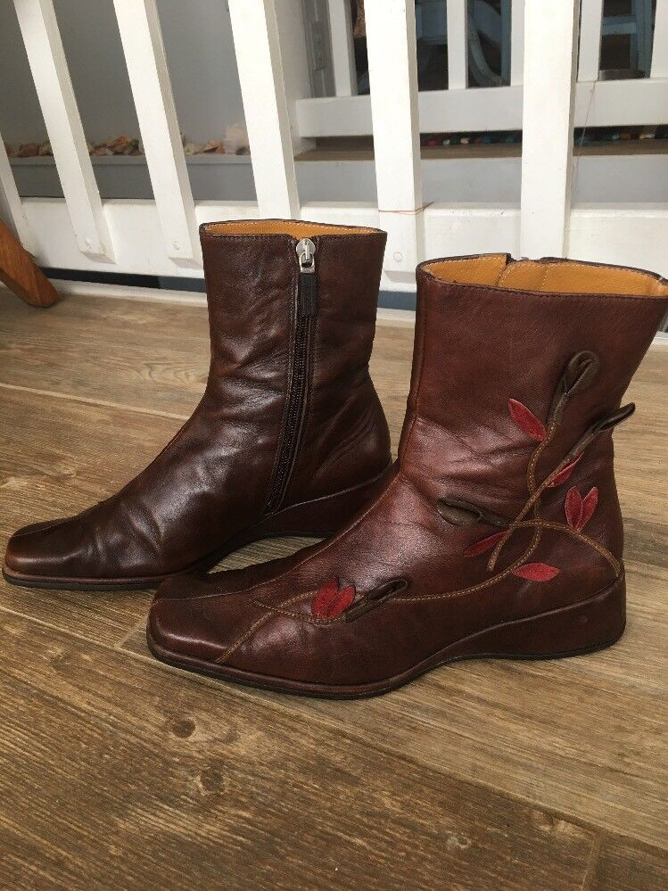 HISPANITAS Brown Leather Ankle Boots Women's Sz EXCELLENT