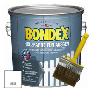 BONDEX Holzfarbe für Außen2,5L Weiß mit Flächenstreicher Langzeitschutz