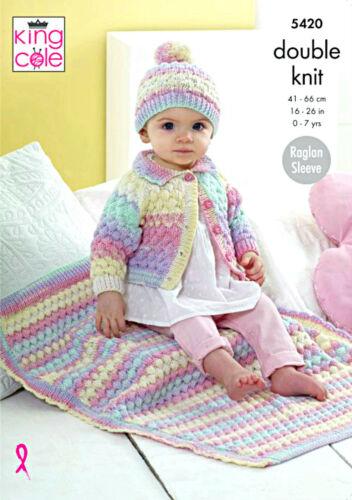 "King Cole Knitting Pattern 5420~Jacket Hat /& Blanket~DK~16-26/"""