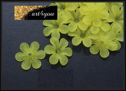 Perlen Acryl Blüten Blumen gefrostet blau 33mm x 8mm Schmuckbasteln DIY