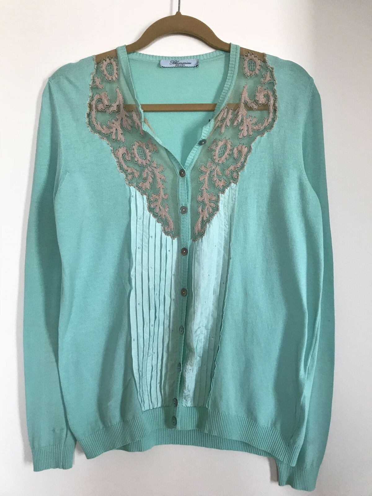 Blaumarine blouse with lace and silk