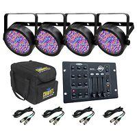 4 Chauvet Slimpar 56 Led Dj Lights + Chs-sp4 + Rgb3c Controller + 4 Dmx Cables on Sale