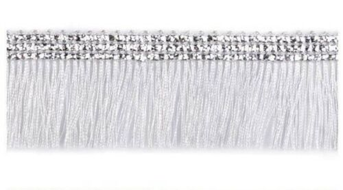 3cm Silver Metallic Chainette Fringe Trimming Sewing Crafts Edging Curtains