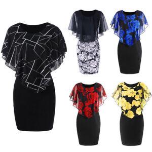 Women-S-5XL-Party-Cocktail-Club-Rose-Plus-Size-Chiffon-Ruffles-Mini-Dress-AU