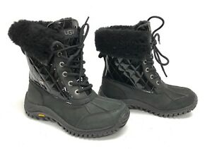 cbef0674c94 Details about Ugg Adirondack II Quilted Womens 1012212 Black Patent  Waterproof Snow Boots