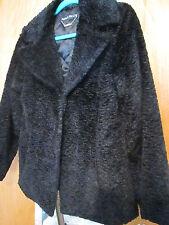 Pamela MCcoy  persian lamb faux fur BLACK coat ~ fits like a size 8 / 10
