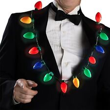 LED Light Up Christmas Bulb Necklace Party Favors for Adults or Kids Flashing