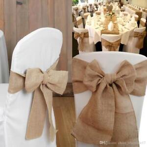 50 100 Or 150pc Hessian Chair Sashes Rustic Wedding Vintage Bows Jute Decor Ebay