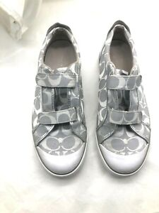 Coach-Britt-Womens-Ladies-silver-gray-logo-tennis-shoes-sneakers-loafers-10M-41