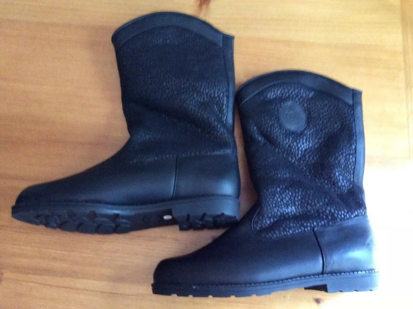 Terralam Australian Black Leather And And And Fleece Lined Women's Boots Size 7.5 68cdaf