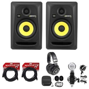 2-KRK-RP5-G3-Rokit-Powered-5-034-Studio-Monitors-Headphones-Condenser-Mic-Cables