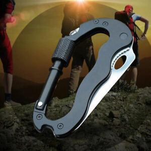 Mini-Karabiner-Bergsteige-Messer-Klappmesser-Multifunktion-Werkzeug-Schwarz