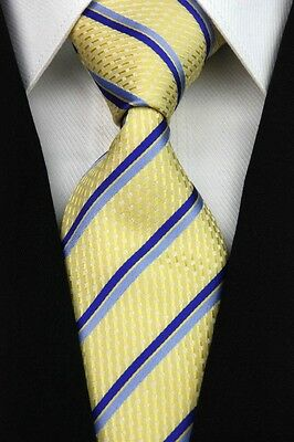 RT0183 Yellow Blue Striped Classic Jacquard Woven Men's Silk Necktie Tie