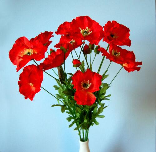 Bouquet de 4 Soie Artificielle Coquelicot Rouge Branches
