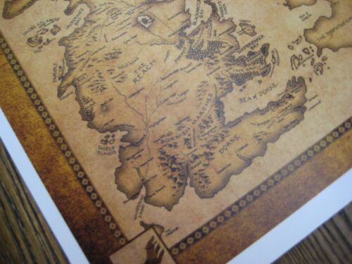 """B2G1F MAP  Collector/'s Poster Print 11/"""" x 13-1//4/"""" Game of Thrones"""