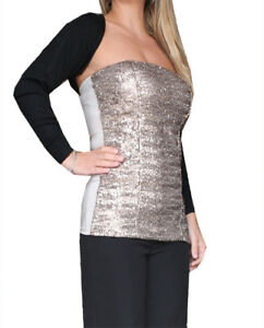 meet cf687 9fd3b Dettagli su coprispalle bolero scaldacuore donna jacket woman veste femme  silvian heach nero