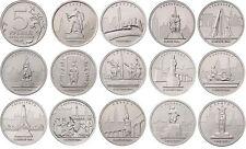 RUSSIA Serie 14 monedas de 5 Rublos RUSIA 2016 Ciudades Liberadas II Guerra