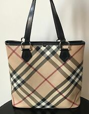 Burberry Exploded Check Pattern PVC Tote Black Leather Handles Handbag