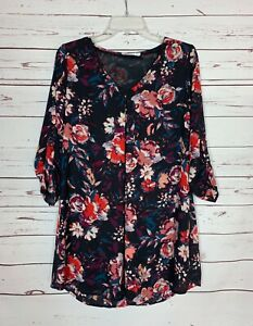 Lush Boutique Women's S Small Floral 3/4 Sleeves Cute Spring Tunic Top Blouse