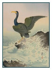 Cormorant-Bird-in-Waves-by-Asian-Ohara-Koson-Shoson-Counted-Cross-Stitch-Pattern
