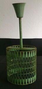 Luminaire-suspension-design-decorateur-1940-metal-perfore-rarissime