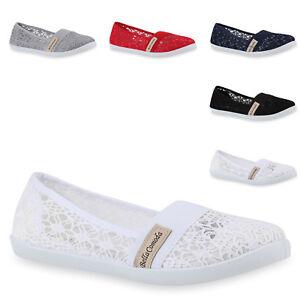 Sportliche-Damen-Ballerinas-Slipper-Spitze-Stickereien-Schuhe-817263-Trendy-Neu
