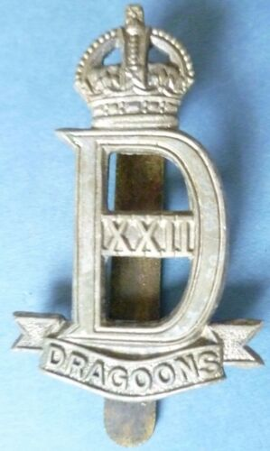 Badge VINTAGE 22nd Dragoons Cap Badge KC White Metal, ORG Slider
