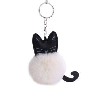 Künstliche Pelz Fluffy Cat Schlüsselanhänger  Handtasche Auto Anhänger