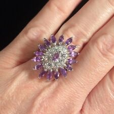 Sterling Silver Amethyst Marquise Multi Gemstone Pave Cocktail Estate Ring 6 3/4