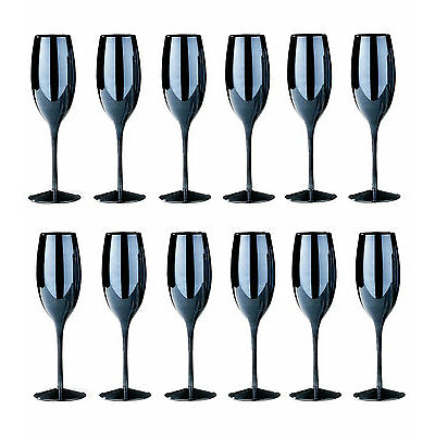 Set of 12 Black Lustre Champagne Glasses Babycham Wedding Dinner Drinks Flutes