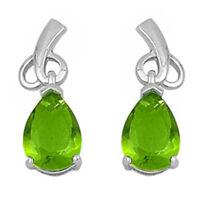 Dangling Pear Shape Peridot .925 Sterling Silver Earrings on sale