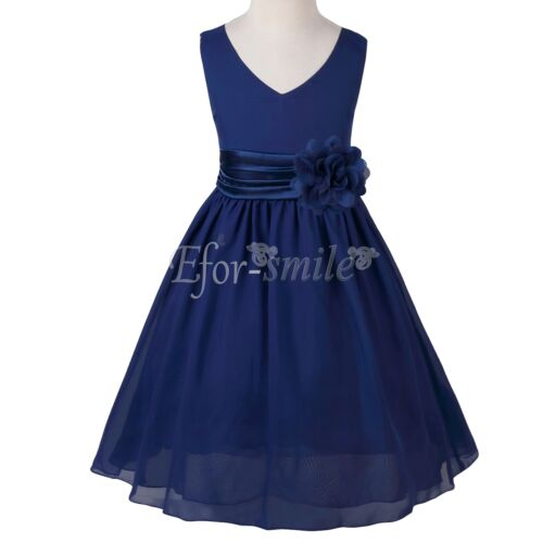 Kids Girls Chiffon Pageant Wedding Bridesmaid Summer Party Flower Tutu Dresses