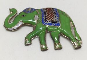 Vintage-Sterling-Silver-2-1-4-034-Long-Cloisonne-Elephant-Pin-With-Trunk-Up-Siam