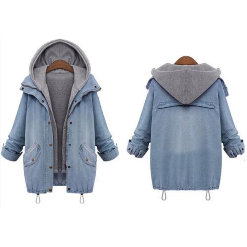 Damen Übergangsjacke Denim Jeansjacke Damenmantel Kapuzenjacke Winter Jacke Tops