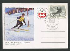 AUSTRIA MK 1964 OLYMPIA OLYMPICS SKI SLALOM CARTE MAXIMUM CARD MC CM d8568